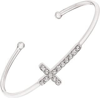 Silpada 'Cross' Cuff Bracelet with Swarovski Crystals in Sterling Silver, 6.75