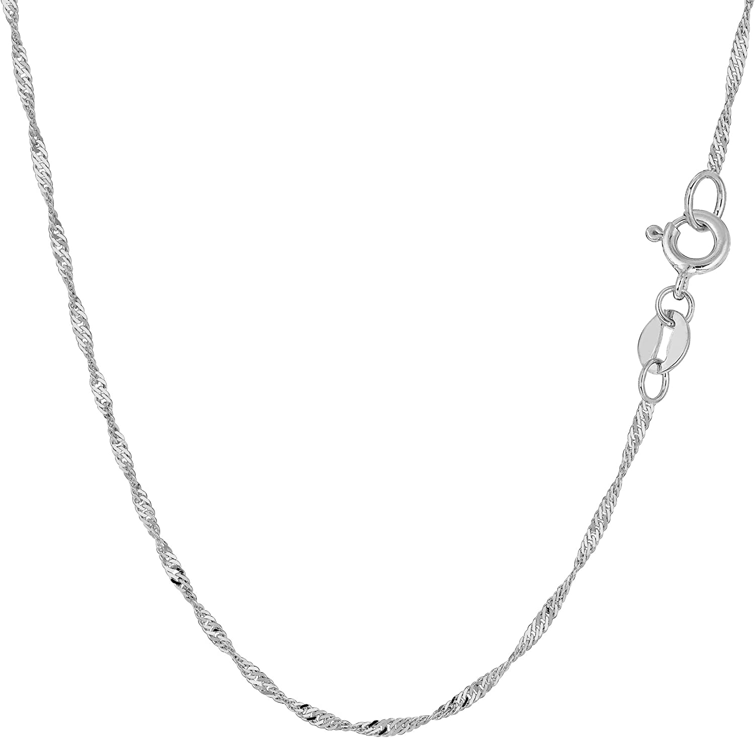 14k White Gold Singapore Chain Necklace, 1.5mm