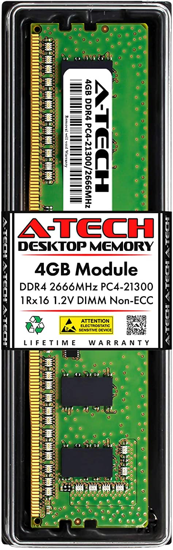 A-Tech 4GB Memory RAM for Dell OptiPlex 3050 SFF - DDR4 2666MHz PC4-21300 Non ECC DIMM 1Rx16 1.2V - Single Desktop Upgrade Module (Replacement for AA086414)