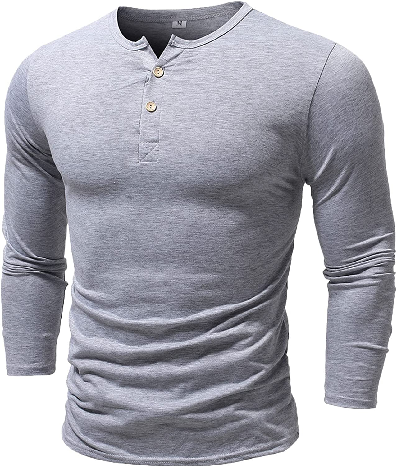Mens Long Sleeve Henley Tee Shirts Casual Summer Compression Muscle Workout T-Shirt Slim Fit Tops Beach Yoga Blouses