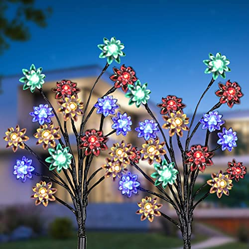 Luces Solares para Jardín, 2 Modos Iluminación Lamparas Solares Exterior 16Leds Multicolor Luz Solar Exterior con Pan...