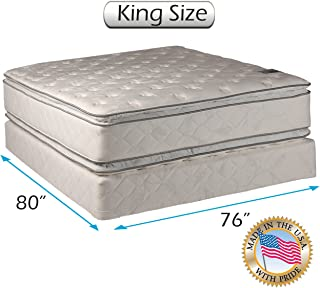 Dream Solutions Pillow Top Mattress and Box Spring Set (King) Double-Sided Sleep System with Enhanced Cushion Support- Fully Assembled, Great for your Back, longlasting Comfort