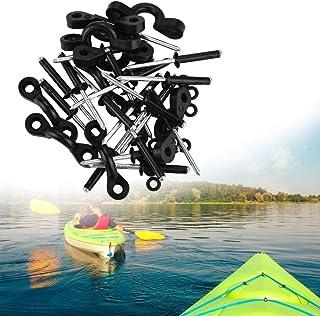 DECARETA 10 Pcs Kayak Nylon Bungee Deck Loops Tie Down Kayak Pad Eye with Rivets,Kayak Pad Eye Tri-Grip Rivet Kit Replacem...