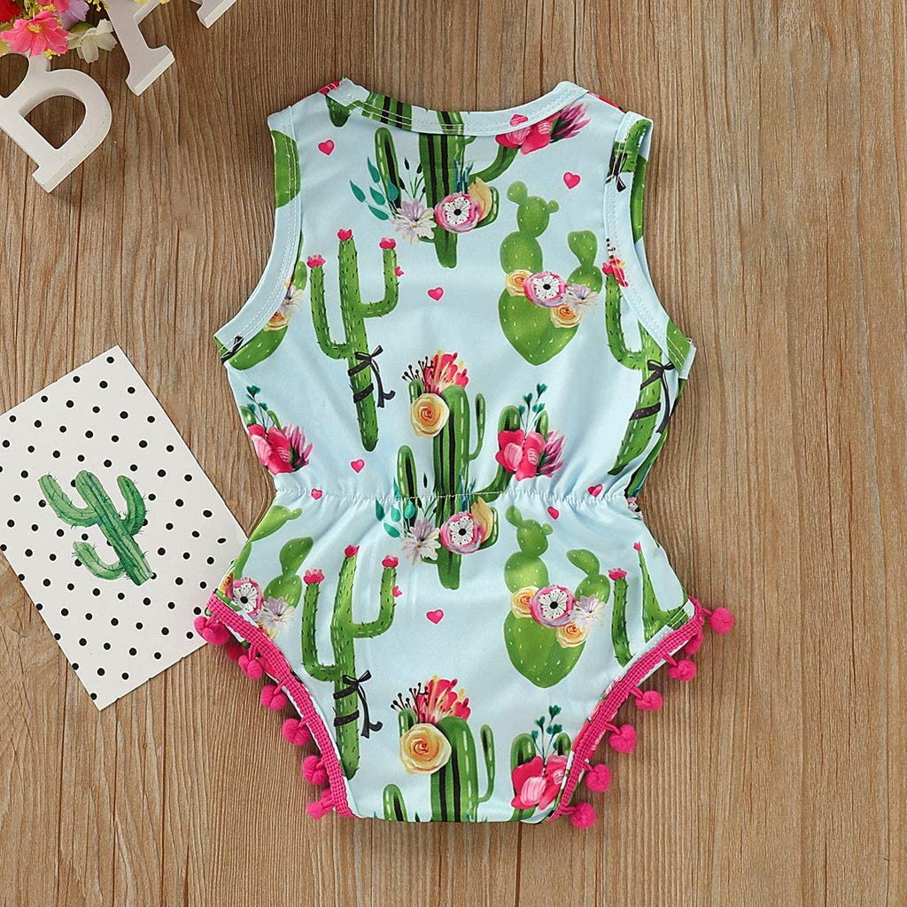 Flag Day Baby Romper 4th of July Clothes,Infant Toddler Girls Cartoon Cactus Printed Tassel Bodysuit 3-18 Months