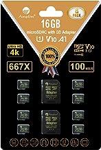 Amplim 8-Pack Bulk 16GB Micro SDHC Memory Card Plus Adapter – 16 GB Class 10 Micro SD Card V10 A1. Extreme High Speed 100M...