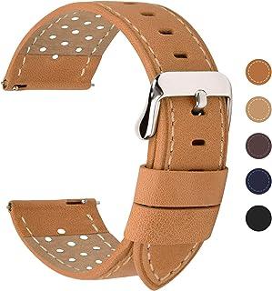 Fullmosa Correa de Reloj 18mm 20mm 22mm 24mm liberación rápida, 5 Colores Breeze Correa de Cuero de Banda de Piel de Becerro, 24mm Marrón Anaranjado