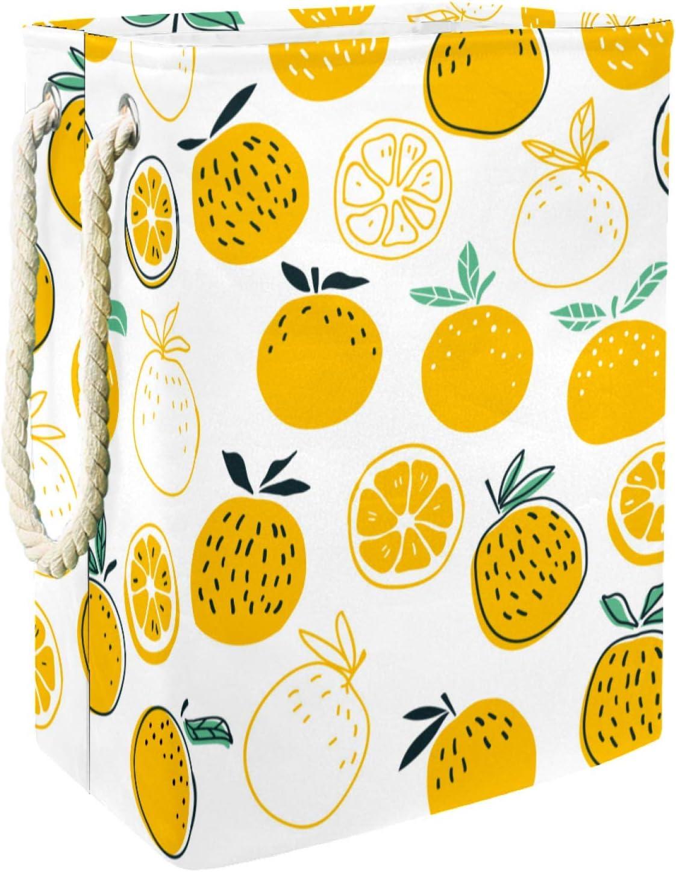 Yellow Lemon Summer Pattern Latest item Laundry Storage Built Basket Max 46% OFF Baskets