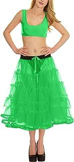 Rimi Hanger Womens 5 Tier Petticoat with Ribbon Tutu Skirt Ladies Facny Dance Wear Skirt One Size
