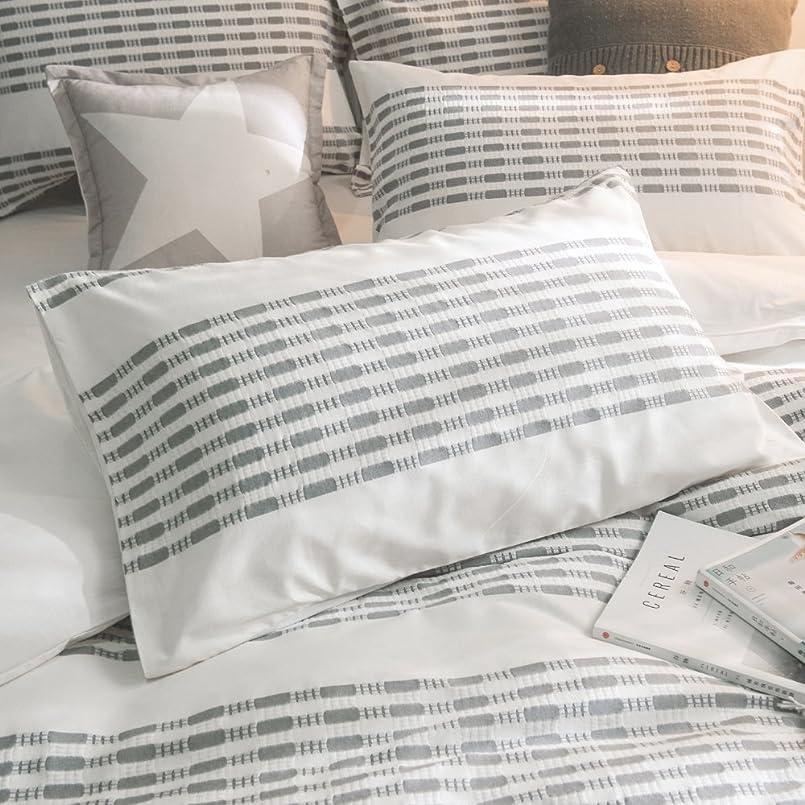 常にリストスリンクMerryfeel枕カバー 綿100%先染めストライプピロケース 50x70cm 2枚セット