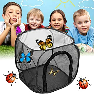 "Hng Kiang Hu Butterfly Habitat Cage Pop-up Black Visible Housing Enclosure for Educational Science 12"" x 12"" x 12"""