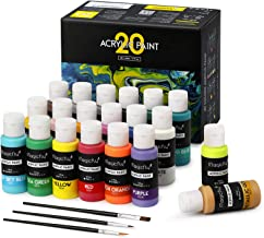 Magicfly 20 Colors Acrylic Paint Set (2fl oz/60ml Each), Professional Grade Paints with 3 Brushes, Multi-Surface Paint on Canvas, Paper, Wood, Stone, Ceramic & Model