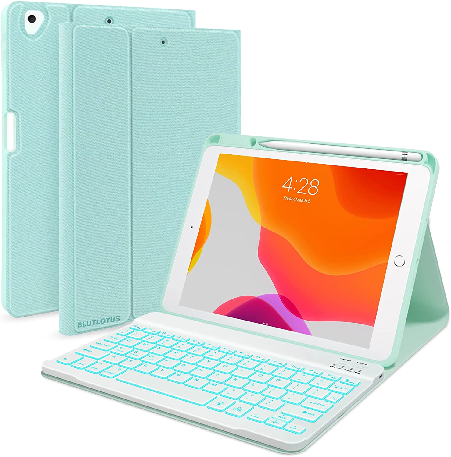 iPad 7th/8th/9th Generation Case with Keyboard 10.2-inch 2019/2020/2021, iPad Air 3rd/Pro 10.5-inch 2017 Compatible, 7 Color Backlit Keyboard BT/Wireless/Detachable with Pencil Holder (Mint Green)