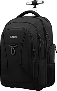 Rolling Backpack,Wheeled Laptop Backpack for Travel,Freewheel Carryon Trolley Luggage Suitcase Compact Business Bag,Wheeled Rucksack Student Computer Trolley Carry Luggage Fits 15.6Inch Laptop - Black