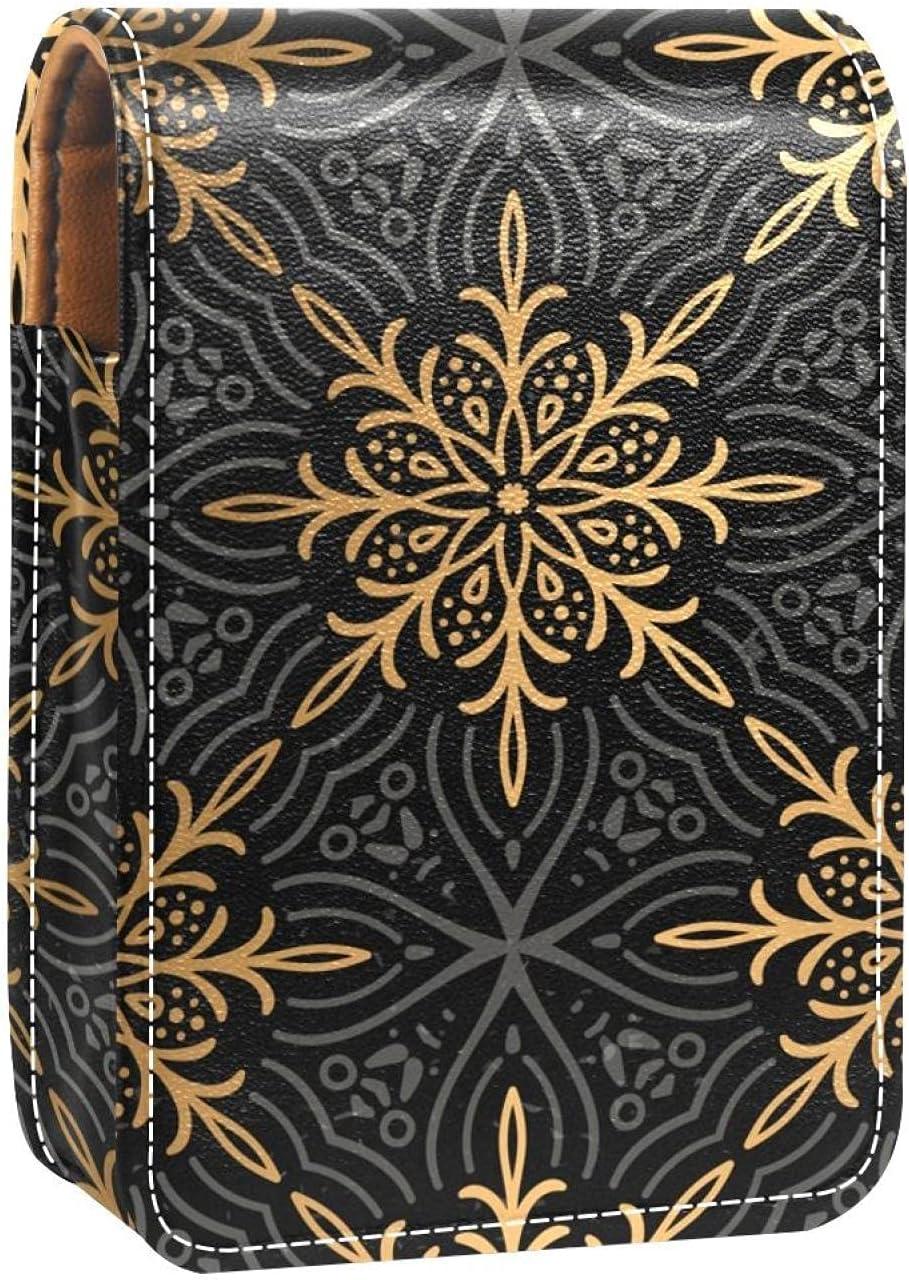 Lipstick Case With Mirror Golden Pattern Flower Black Gloss Lip Outstanding Super sale