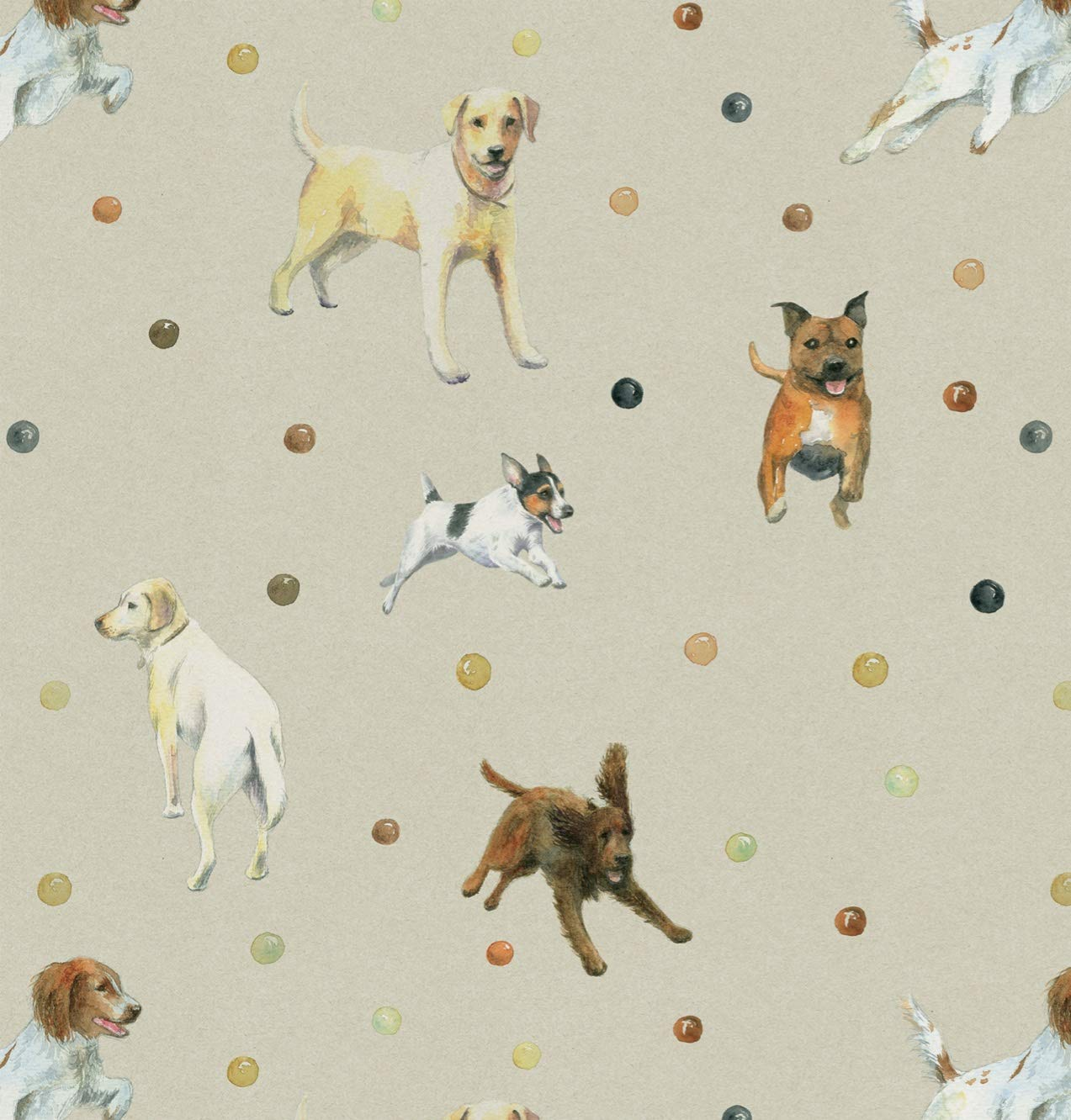 Dog Gift Wrapping Paper Jack Russell Golden Retriever Labrador Springer Spaniel And Staffordshire Bull Terrier Illustrations Amazon Co Uk Office Products