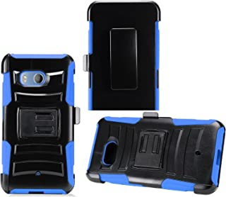 2Layer Rugged Rubber Case Cover w/Holster Belt Clip for HTC U11 Phone (Black on Blue)
