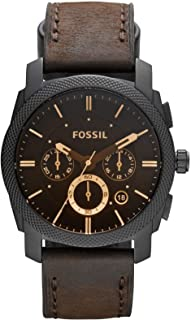 Fossil Machine Men's Black Dial Leather Analog Watch - FS4656
