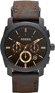 ساعة ماشين للرجال بمينا اسود وسوار جلدي وعرض انالوج من فوسيل - FS4656