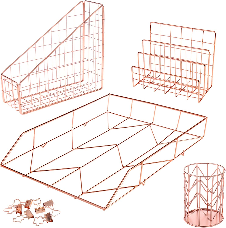 BHONGVV Desk Organizer Set 5 Piece Desk Accessories Set Rose Gold Wire Desk Set for Women - Letter Tray, Pen Holder, Mail Sorter, Magazine File Holder & 6 Binder Clips (Rose Gold)