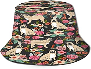 Fisherman Hat Puppy Floral Flowers Bucket Hat Unisex 3D Printed Packable Bonnie Cap UV Protect Lightweight Sun Hat for Picnic Hunting Fishing Golf Hiking