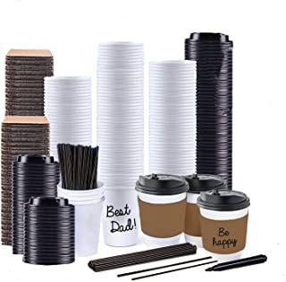 Sugarman Creations12 Ounce White Disposable Paper Coffee Cups with Black Resealable Lids, Heat Resistant Sleeves, Plastic Stirrers and Black Permanent Marker for Labeling (65)