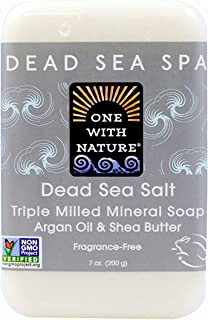 One With Nature Dead Sea Mineral Soap Dead Sea Salt 7-Ounces (Pack of 6)
