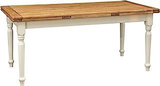 Biscottini Table Extensible en Bois Massif de Tilleul - Style Country - Structure Blanche Antique - Plan Naturel L 180 x P...