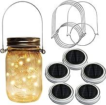 Homeleo 5-Pack Warm White Solar Mason Jar Lid Insert w/Stainless Steel Hangers, Solar Powered LED Mason Jars Light Up Lid Set(Jars NOT Included)