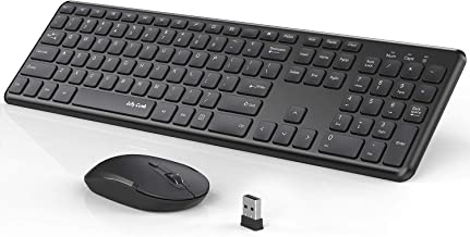 Wireless Keyboard and Mouse Combo, Jelly Comb KUT027 Wireless Keyboard and Mouse-- 2.4GHz Full Size Ultra-Thin Keyboard Mouse for Computer, Laptop, PC, Desktop, Windows 7, 8, 10 - Black