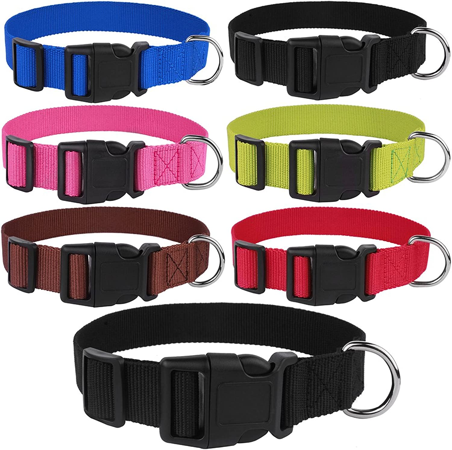 CollarDirect Nylon Dog Collar Side Release Buckle Adjustable Puppy Collars Dogs Small Medium Large (L Neck Fit 1320 inch, Black)