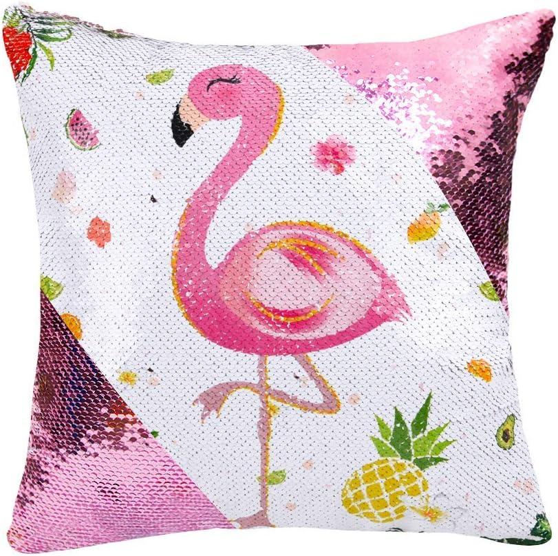 WERNNSAI Funda de Cojín Flamingo - 40 x 40 cm Fundas Cojines de Lentejuelas Rosadas Sirena Cuadradas Flores Piña Fundas de Almohada para Sofá Silla(SIN Insertos de Almohada)