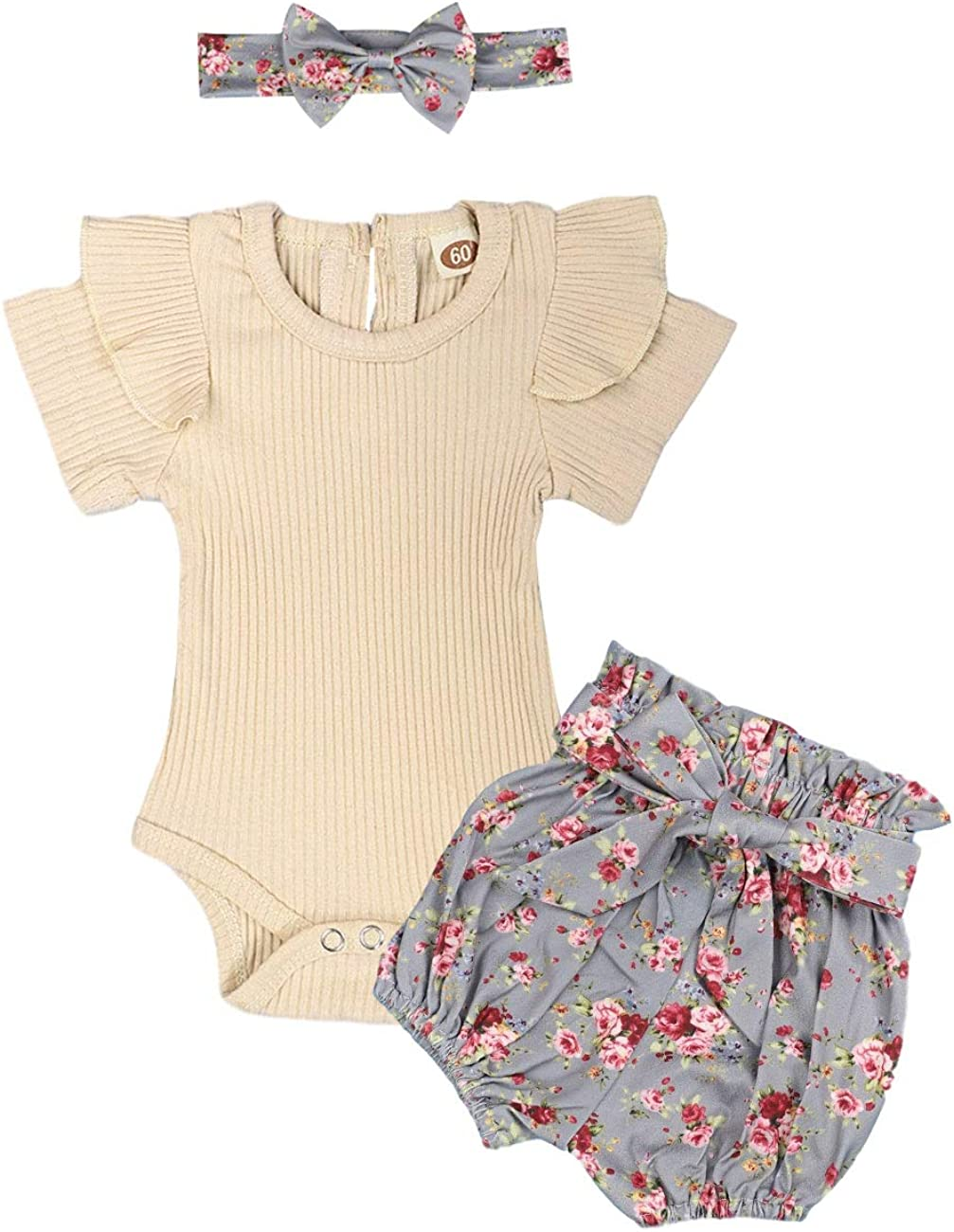 Newborn Baby Girls Clothes Outfits Infant Romper Ruffle T-Shirt Floral Pants Cute Toddler Baby Girl Clothes Set