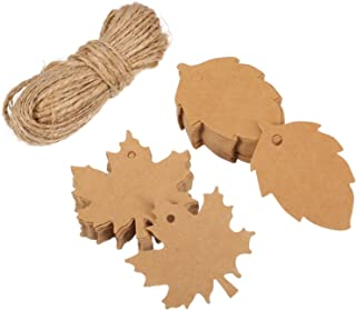 Shappy 100 Pieces Maple and Leaf Kraft Gift Paper Tags for Thanksgiving Christmas Day and Holiday, Wedding, Parties, Arts and Crafts with 65.6 Feet Rope