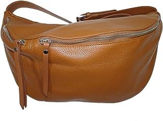 Italy borse in pelle echt Leder Damen Handtasche  XXL crossover Body Bag in Metallic Look  Umhängetasche mit verstellbaren...