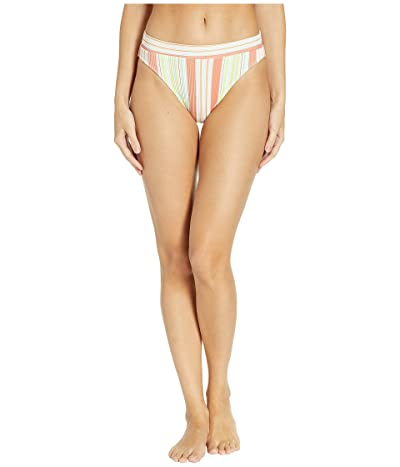 Luli Fama Play Time Ribbed High Leg Banded Waist Bottoms (Multi White) Women