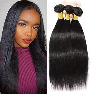 Brazilian Virgin Human Hair Straight 3 Bundles 100% Unprocessed Human Hair double weft Human Hair Weave Natual Black Color 300g Per Package (10 12 14)
