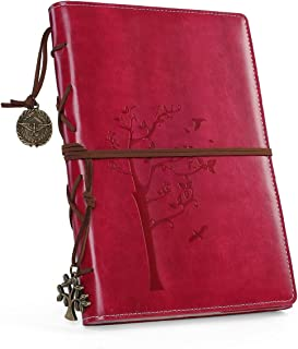 Refillable Writing Journals,Vintage Faux Leather Bound Notebook for Women with Lined Paper,Daily Use Gifts for Teachers/Girls/Travelers/Bloggers-Small A5 (5.5''x8.1'') Rosy Color