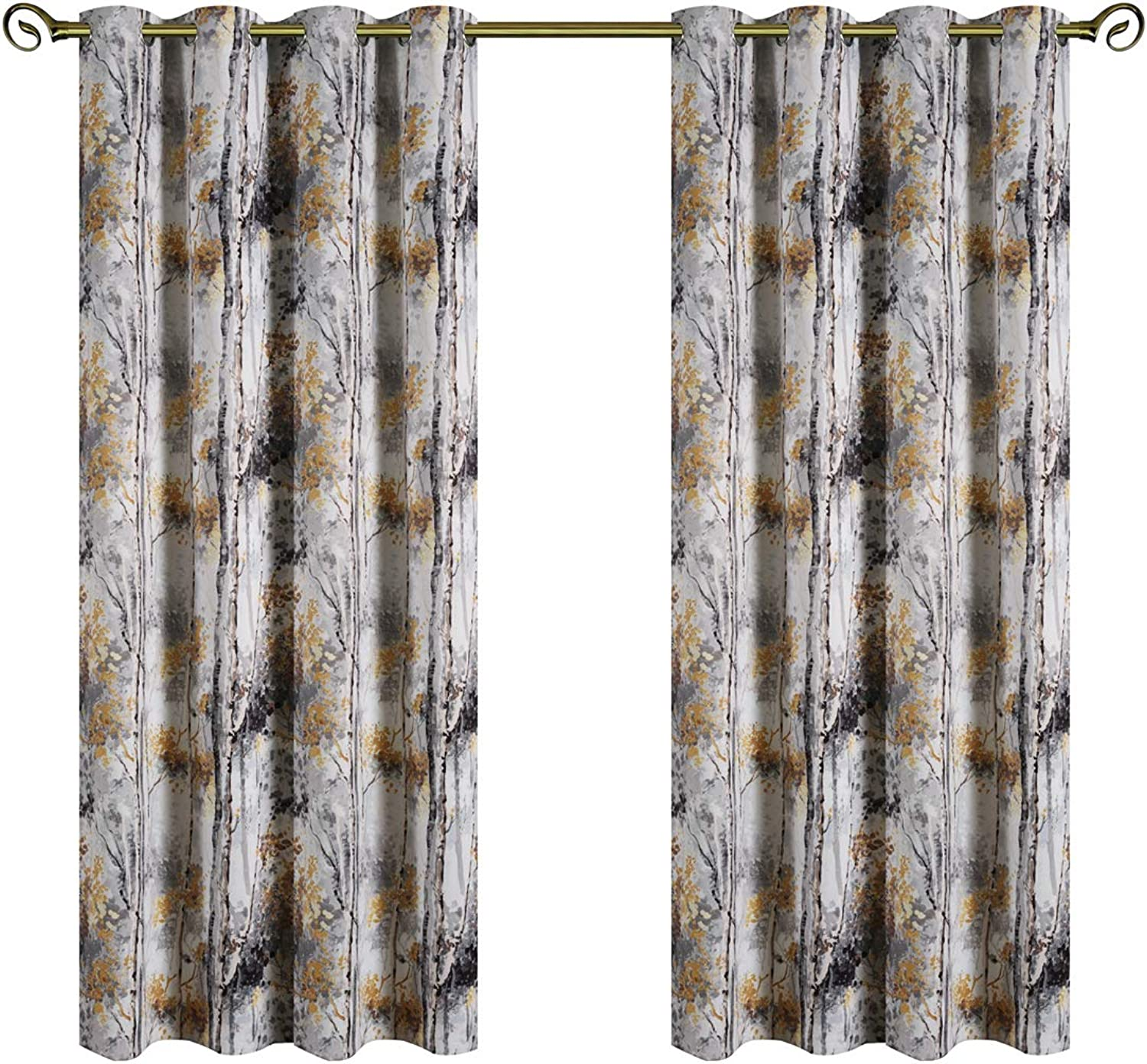 Kotile Grey Blackout Curtains for Bedroom Living Room 95 Inch Length 2 Panels, Home Decor Window Treatment Thermal Insulated Ring Top Curtains with colorful Tree Floral Design Print