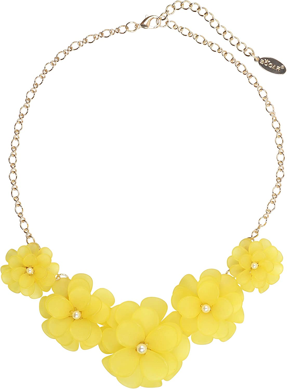 Bocar Newest Acrylic Pendant Collar Flower Statement Choker Necklace for Women