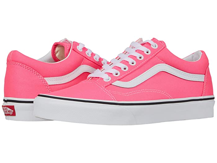 Vintage Sneakers, Retro Designs for Women Vans Old Skooltm Neon Knockout PinkTrue White Skate Shoes $59.95 AT vintagedancer.com