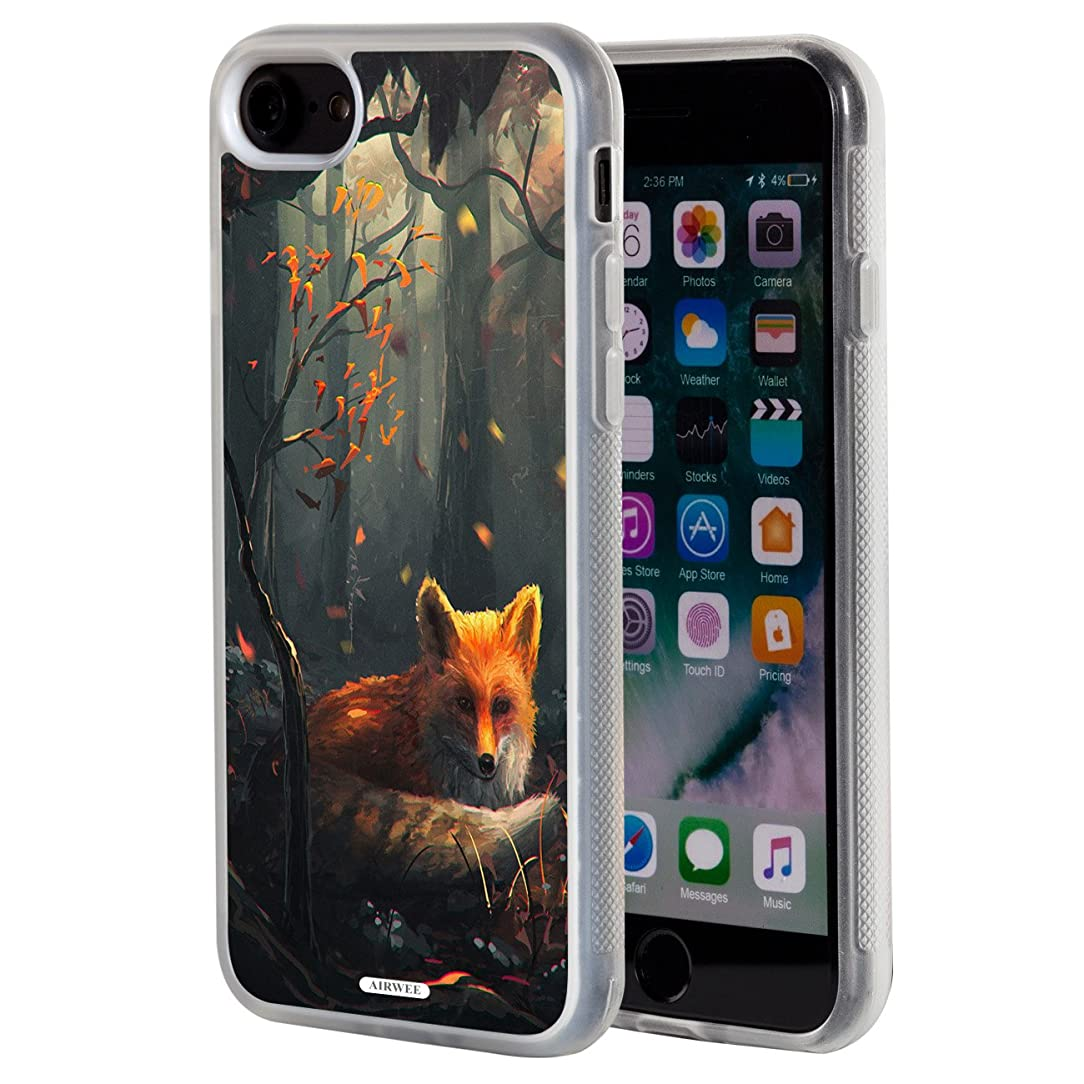 iPhone 8 Case,iPhone 7 Case,AIRWEE Clear Bumper Fox Deep in The Forest Pattern Anti-Scratch Slim Soft TPU Back Protective Cover Case for Apple iPhone 8/iPhone 7 (4.7 inch)