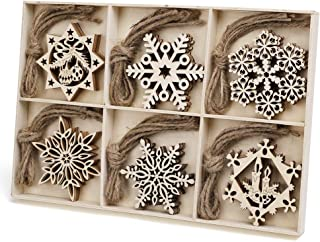 N&T NIETING 30pcs Wooden Snowflakes Christmas Ornaments, Unfinished Wooden Cutouts Snowflakes Shaped Embellishments Hanging Ornament for Christmas Decorations, Tree Decor, Kids Crafts DIY