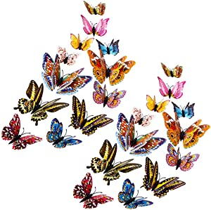 24pcs Butterfly Wall Sticker Decals, 3D Luminous Butterfly Wall Decor Double Layer Glow in The Dark Designs Reusable Butterflies for Home and Room Decoration Multi-Color 4 Sizes