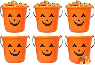 Triumpeek Halloween Pumpkin Trick Treat Bucket, Set of 6 Halloween Jack O Lantern Pails, Trick or Treat Bucket, Portable P...