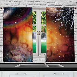Home & Kitchen Decor Window Treatment Panel Curtains, Abstract Astrology Decorations,Astral Spiritual Illlustration of The Universe Electricity in, 55 W X 39 L Inches