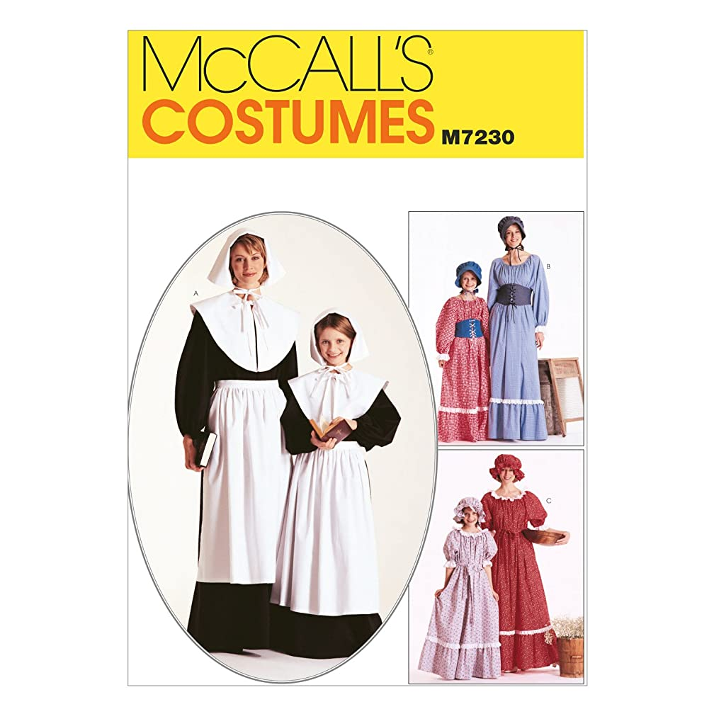 McCall's M7230 Girl's Historical Pioneer and Pilgrim Costume Sewing Pattern, Sizes 14