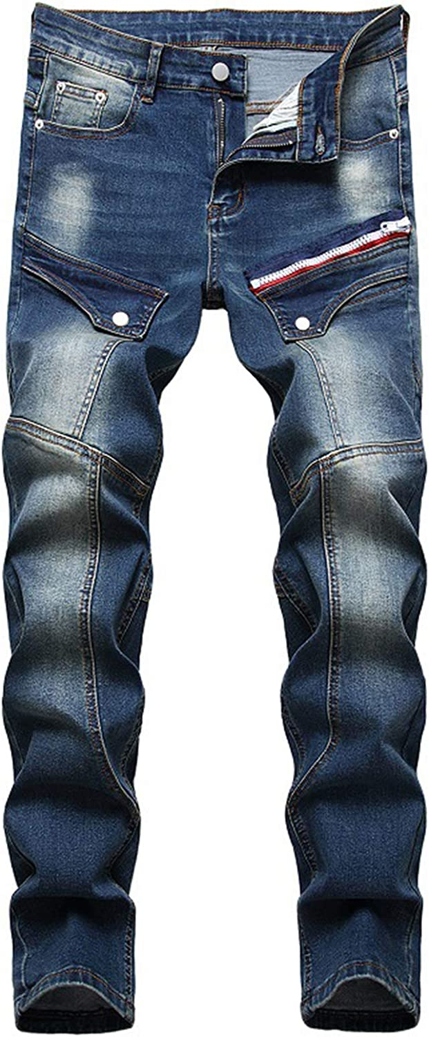 GINZOUS Men's Multi Pockets Jeans Cargo Shipping included Patchwork Denim Outlet SALE
