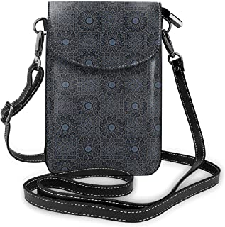 Women Small Cell Phone Purse Crossbody,Geometric Design With Old Rich Royal Elements And Moroccan Star Dark Ancient