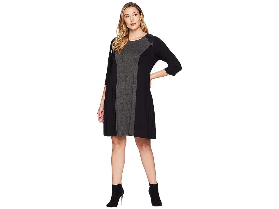 Karen Kane Plus Plus Size Color Block Dress (Gray/Black) Women