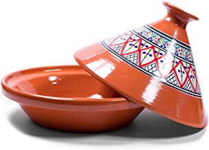Kamsah Hand Made and Hand Painted Tagine Pot | Moroccan Ceramic Pots For Cooking and Stew Casserole Slow Cooker (Medium, Bohemian Red)